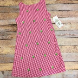 NWT rare editions plaid frog girls dress size 12